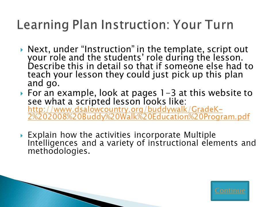 Learning Plan Instruction: Your Turn