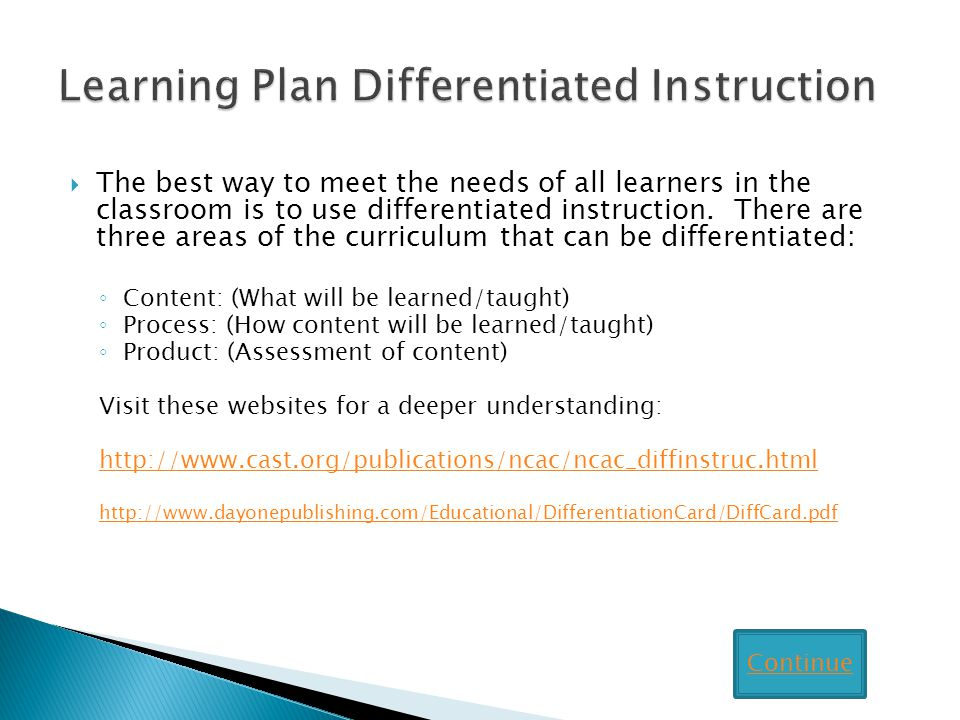 Learning Plan Differentiated Instruction