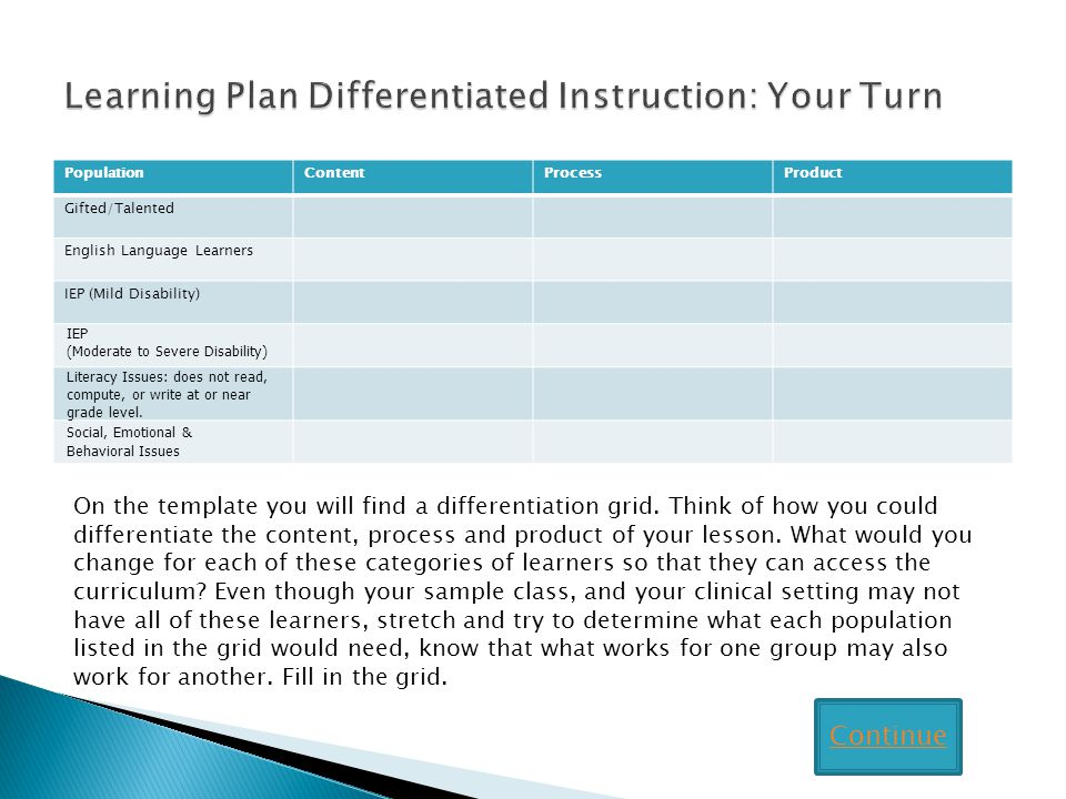 Learning Plan Differentiated Instruction: Your Turn