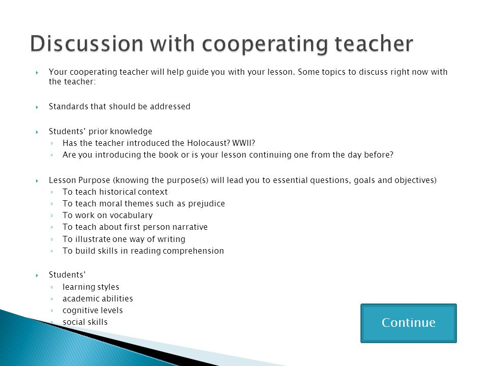 Discussion with cooperating teacher