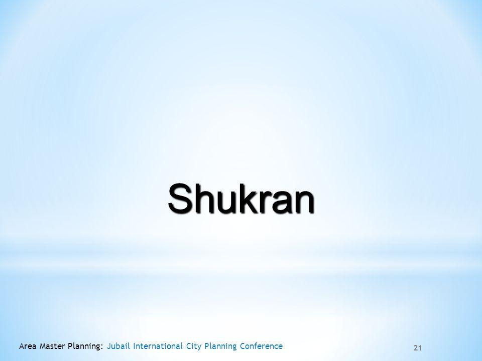 Shukran Area Master Planning: Jubail International City Planning Conference