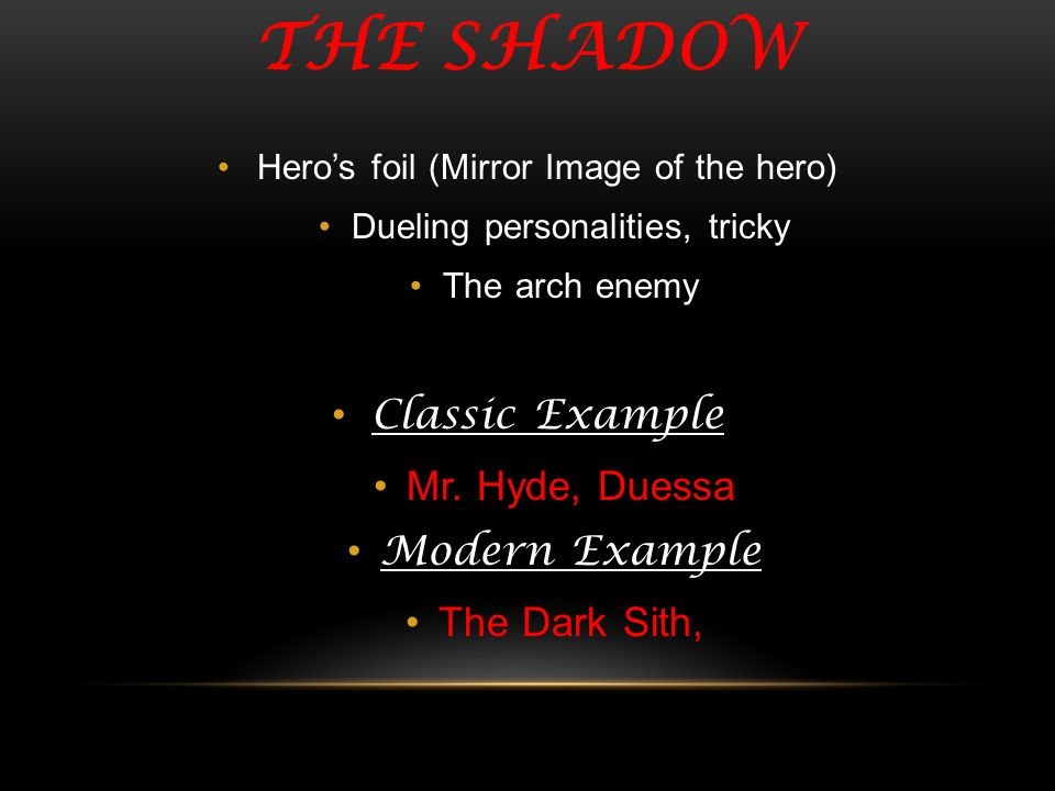 The shadow Classic Example Mr. Hyde, Duessa Modern Example