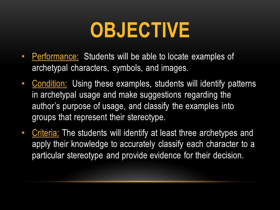 Objective Performance: Students will be able to locate examples of archetypal characters, symbols, and images.