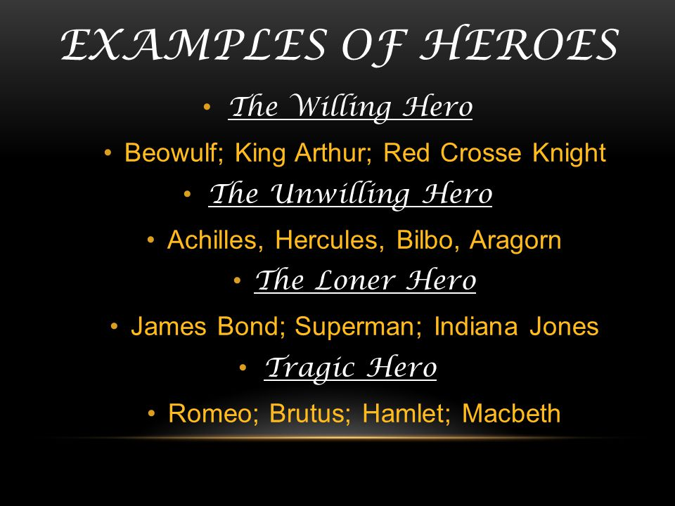 Examples of heroes The Willing Hero