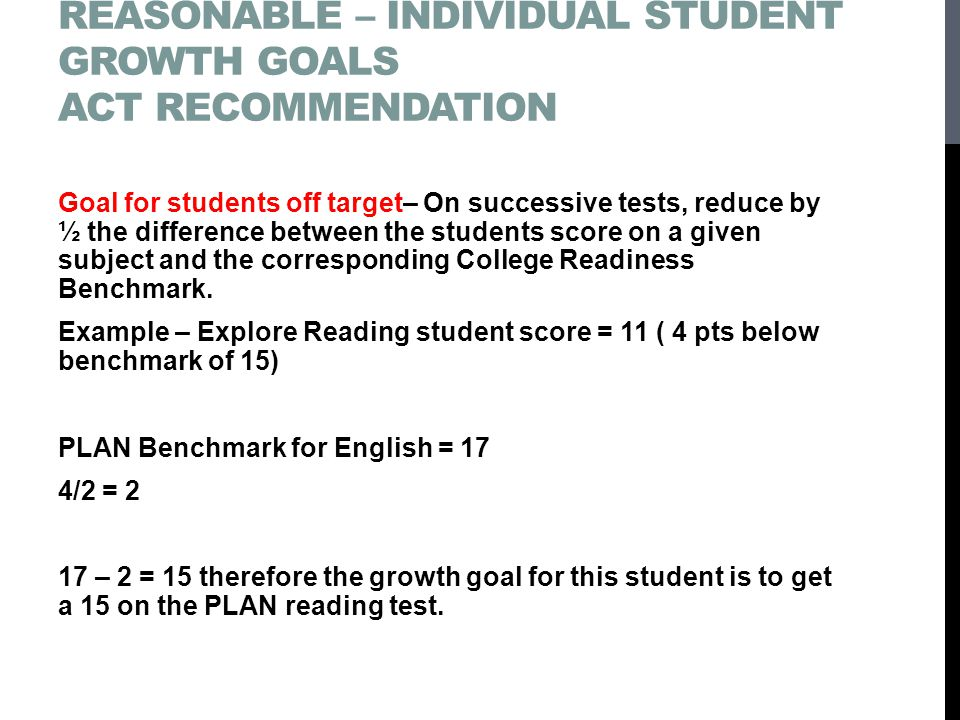 Setting challenging – yet reasonable – Individual student growth goals ACT recommendation