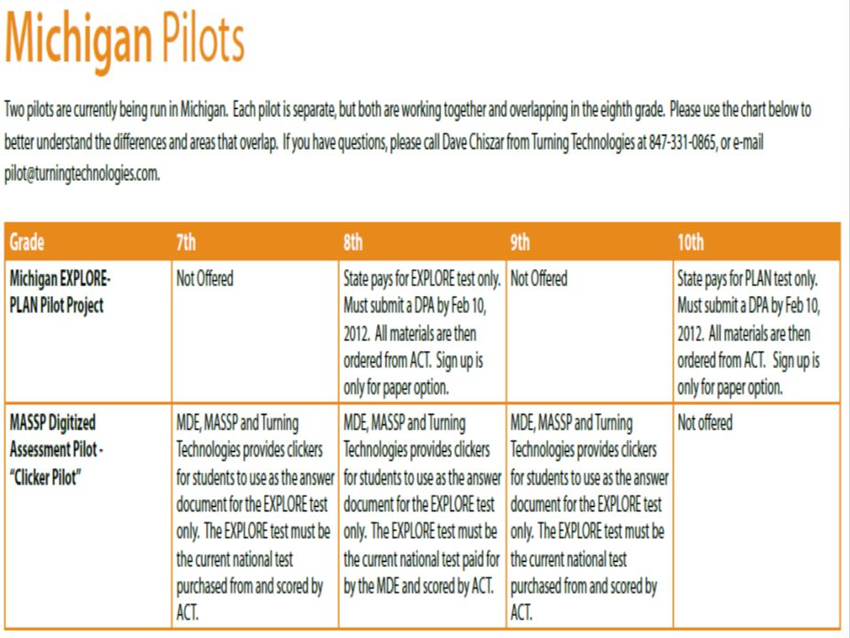 There are at least two Michigan pilots going on in 2011-2012.
