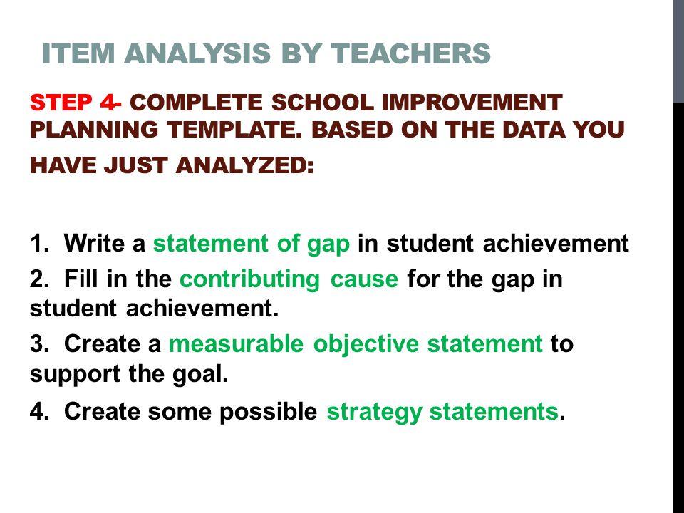 Item Analysis by teachers