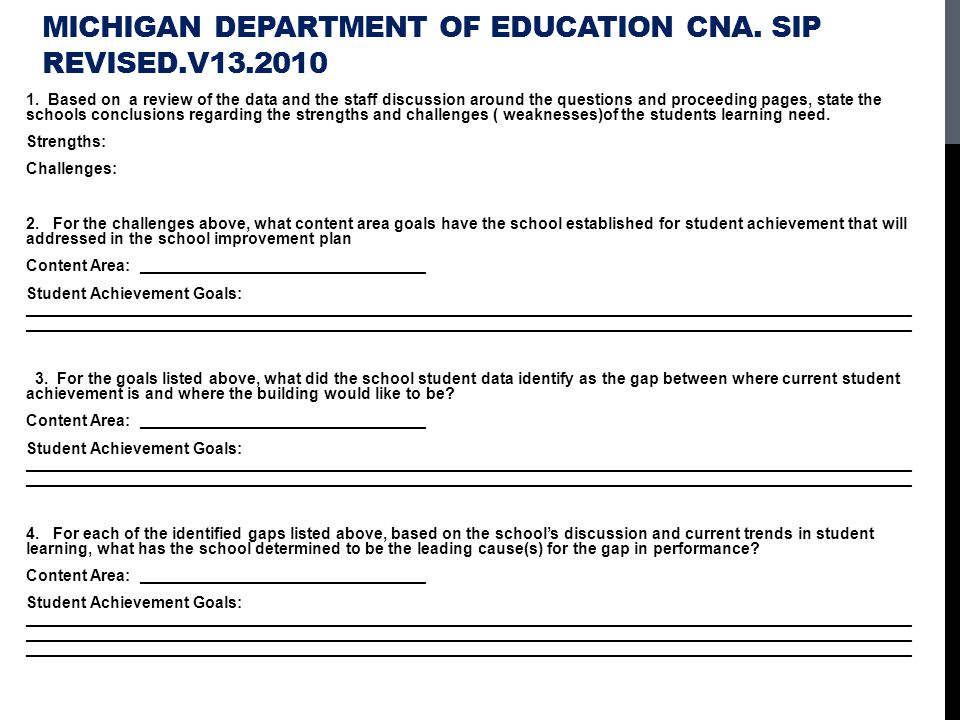 Michigan Department of Education CNA. SIP Revised.v13.2010