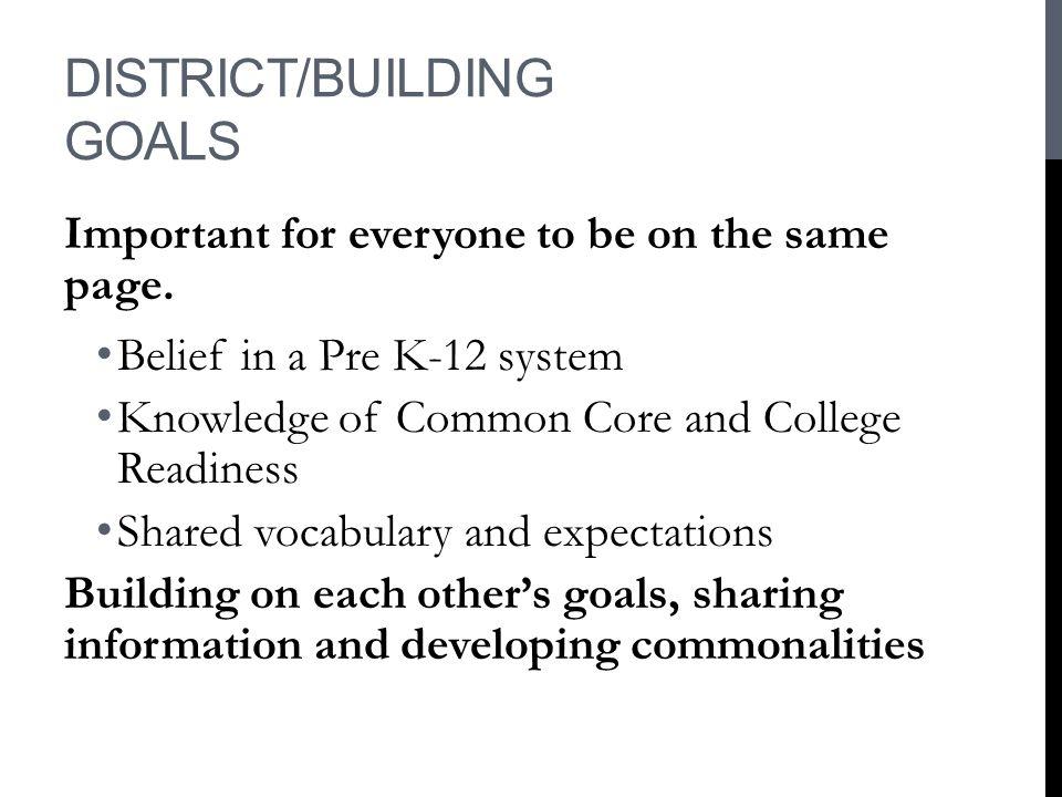 District/Building Goals