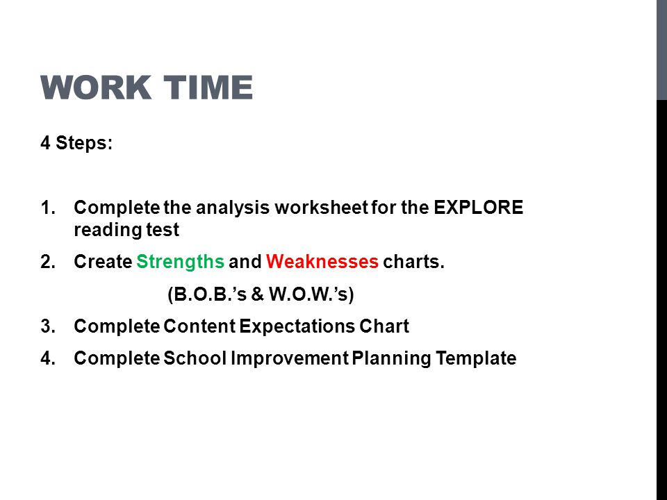 Work time 4 Steps: Complete the analysis worksheet for the EXPLORE reading test. Create Strengths and Weaknesses charts.