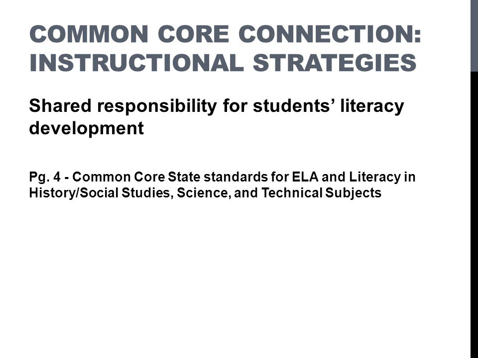 Common Core Connection: Instructional Strategies