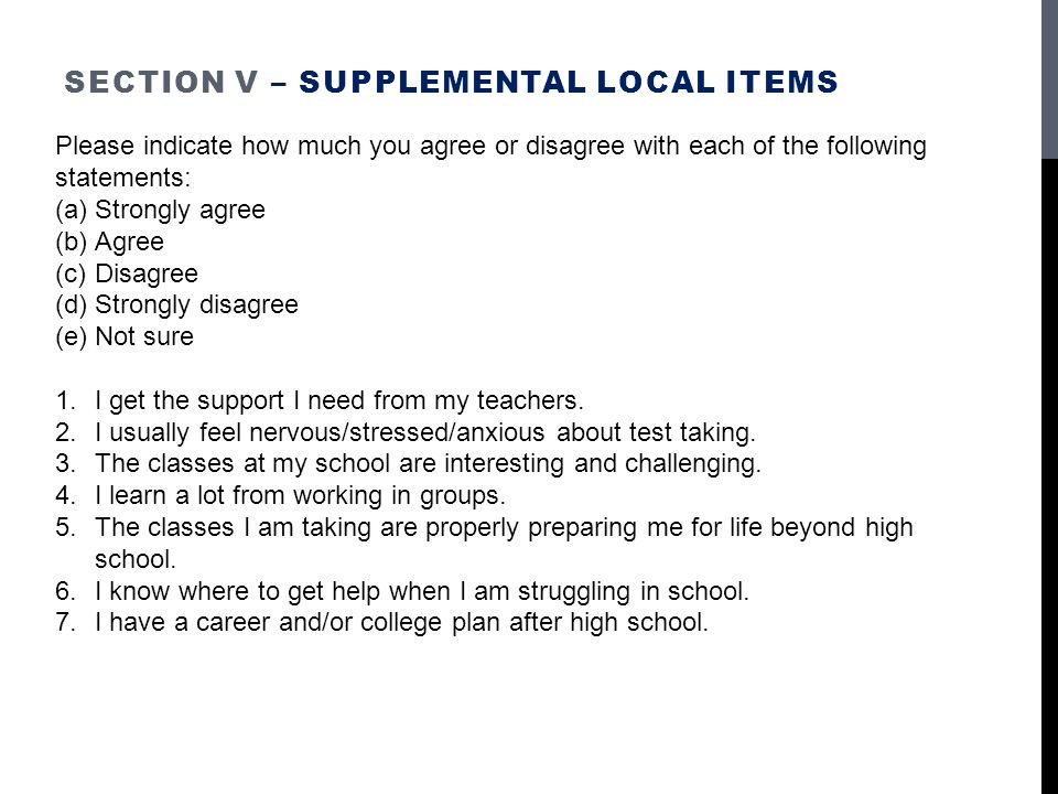 Section V – Supplemental Local items