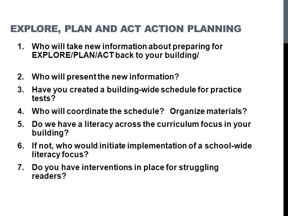 Explore, Plan and ACT Action Planning