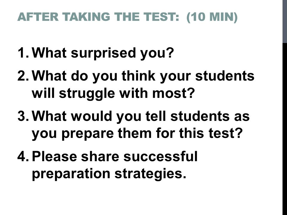 What do you think your students will struggle with most
