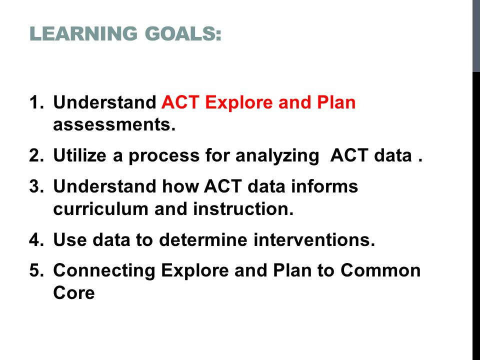 Learning Goals: Understand ACT Explore and Plan assessments.
