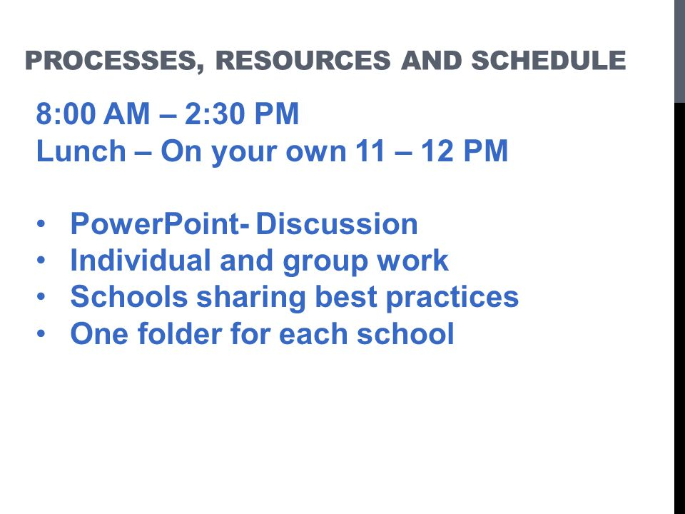 Processes, resources and schedule