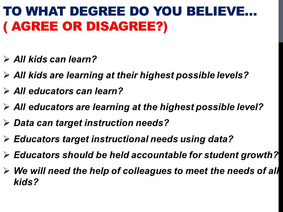 To What Degree Do You Believe… ( Agree or Disagree )
