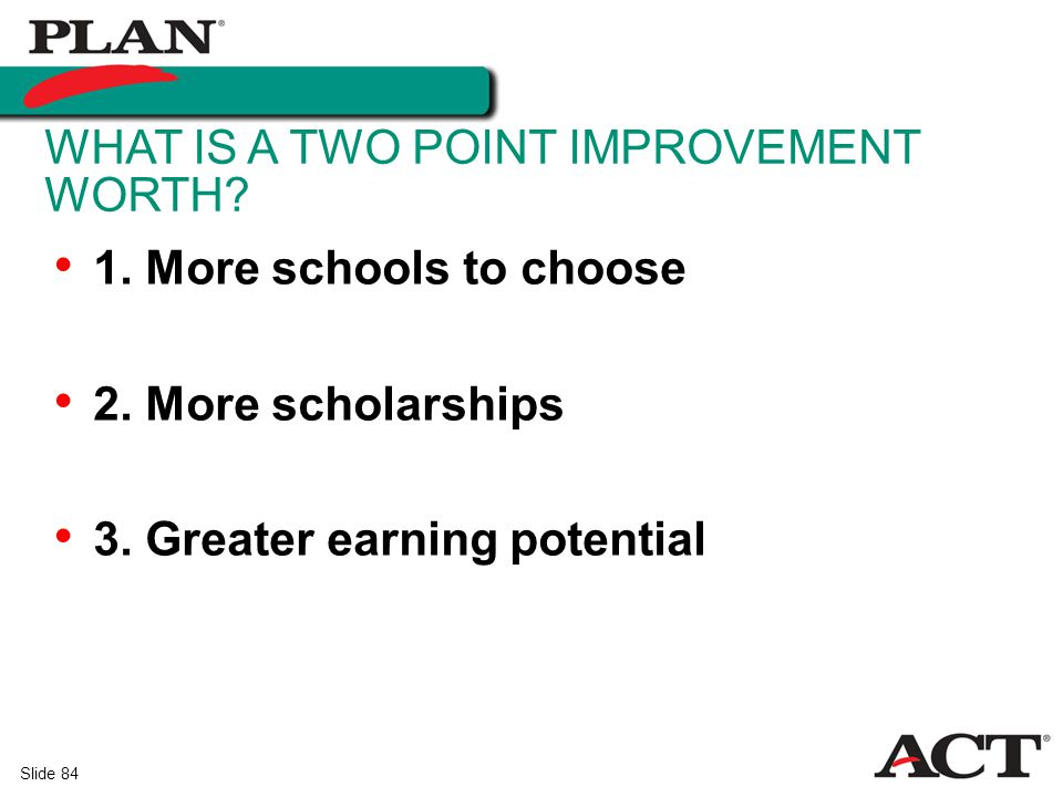 What is a two point improvement worth