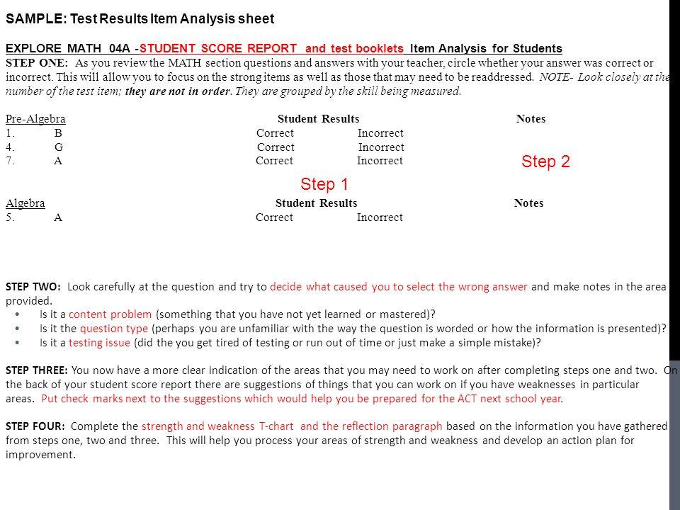 Step 2 Step 1 Jill Speaks SAMPLE: Test Results Item Analysis sheet