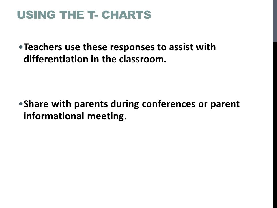 Using the T- Charts Teachers use these responses to assist with differentiation in the classroom.