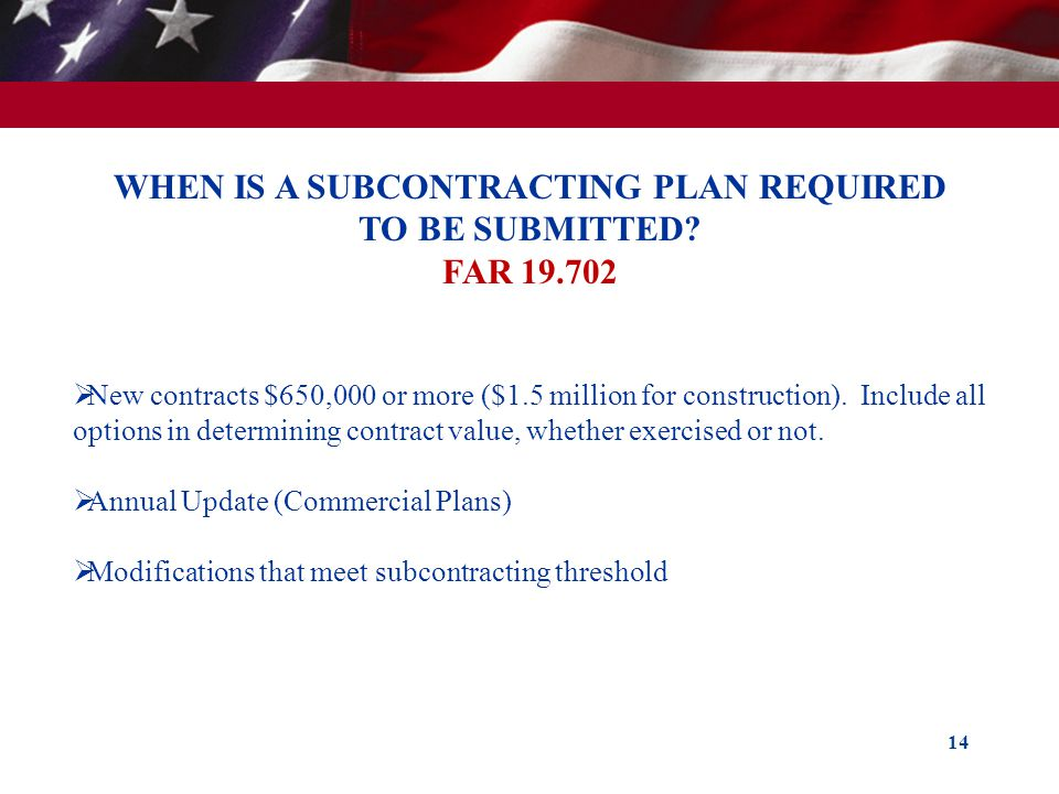 WHEN IS A SUBCONTRACTING PLAN REQUIRED TO BE SUBMITTED FAR