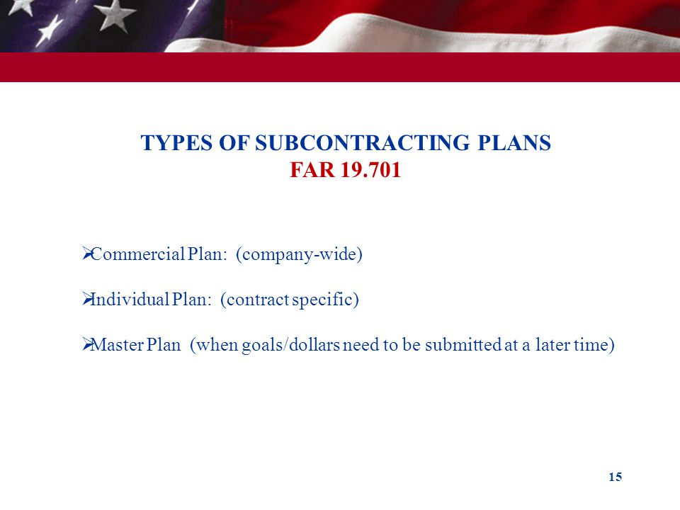TYPES OF SUBCONTRACTING PLANS FAR 19.701