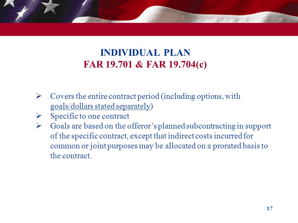 INDIVIDUAL PLAN FAR 19.701 & FAR 19.704(c)