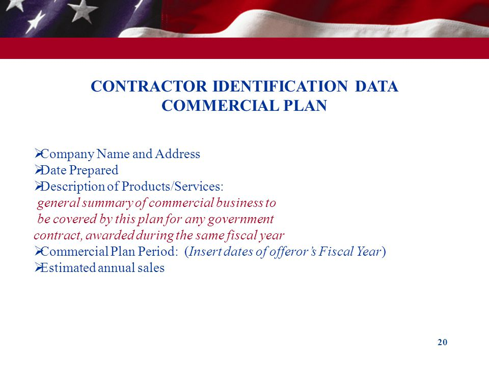 CONTRACTOR IDENTIFICATION DATA COMMERCIAL PLAN