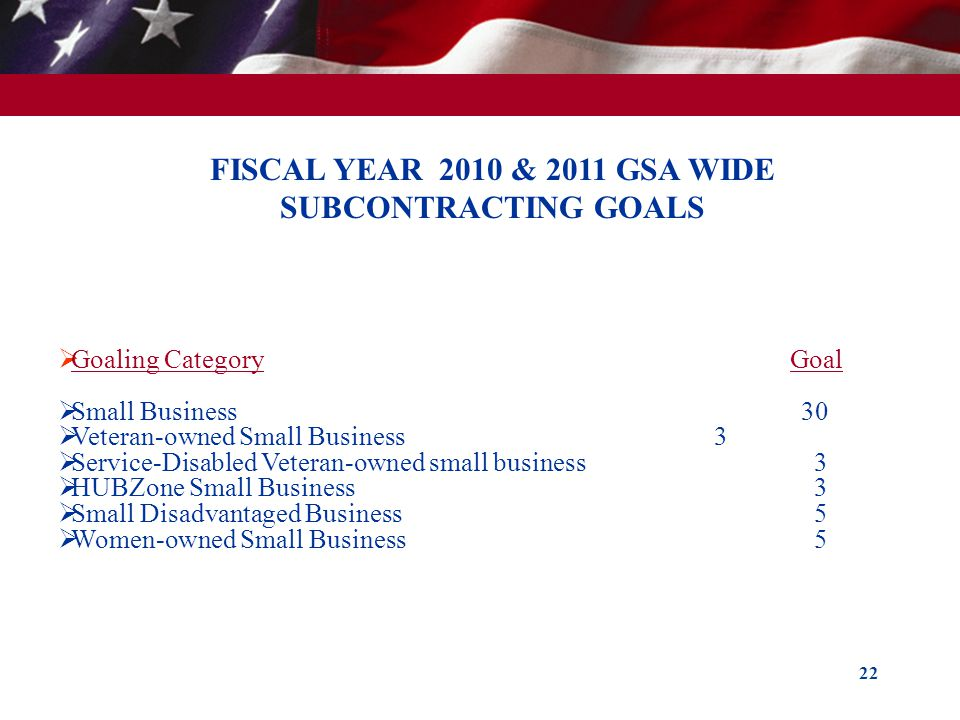 FISCAL YEAR 2010 & 2011 GSA WIDE SUBCONTRACTING GOALS