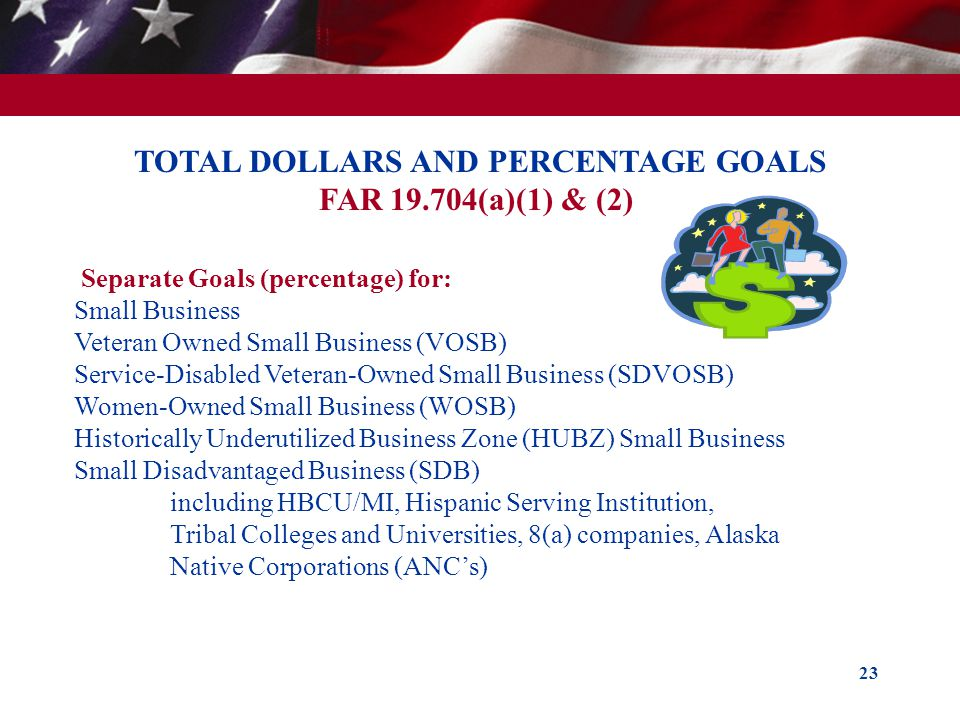 TOTAL DOLLARS AND PERCENTAGE GOALS FAR (a)(1) & (2)