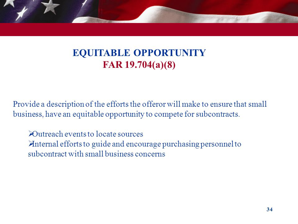EQUITABLE OPPORTUNITY FAR 19.704(a)(8)