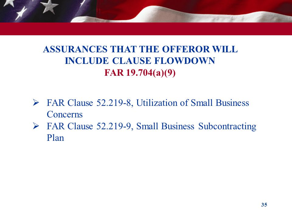 ASSURANCES THAT THE OFFEROR WILL INCLUDE CLAUSE FLOWDOWN
