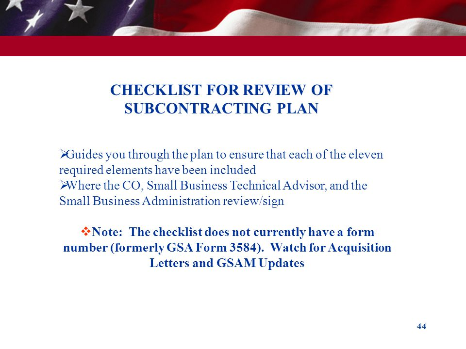 CHECKLIST FOR REVIEW OF SUBCONTRACTING PLAN