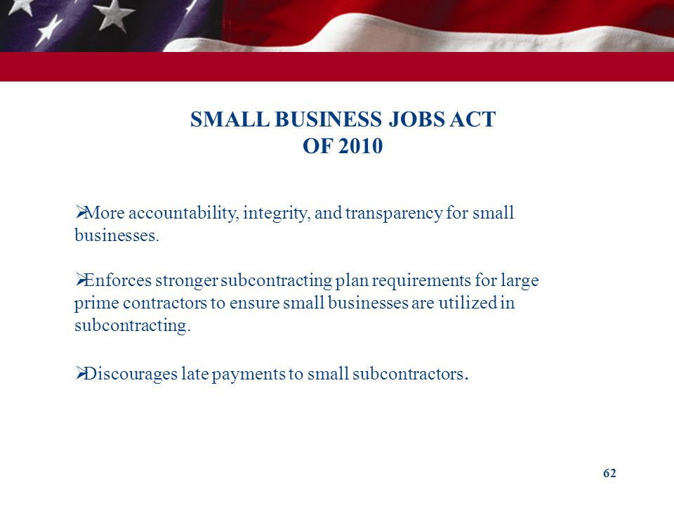 SMALL BUSINESS JOBS ACT OF 2010