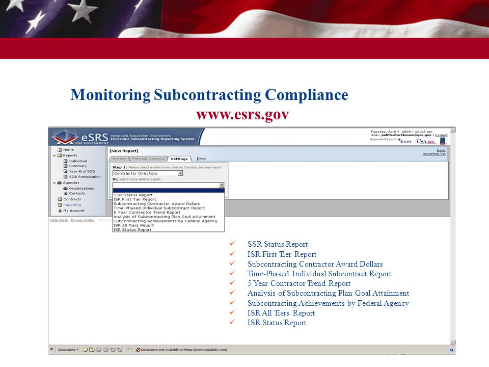 Monitoring Subcontracting Compliance www.esrs.gov