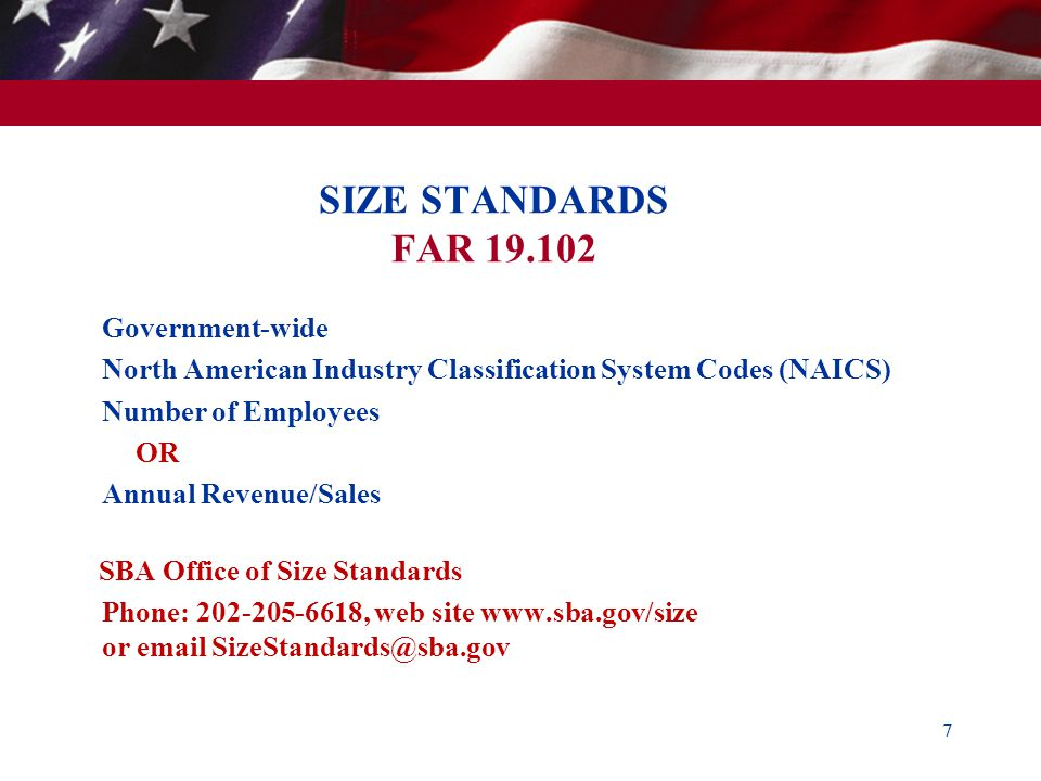 SIZE STANDARDS FAR 19.102 Government-wide