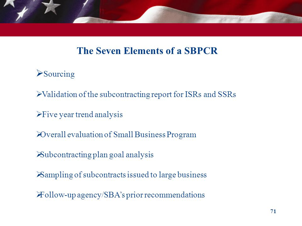 The Seven Elements of a SBPCR