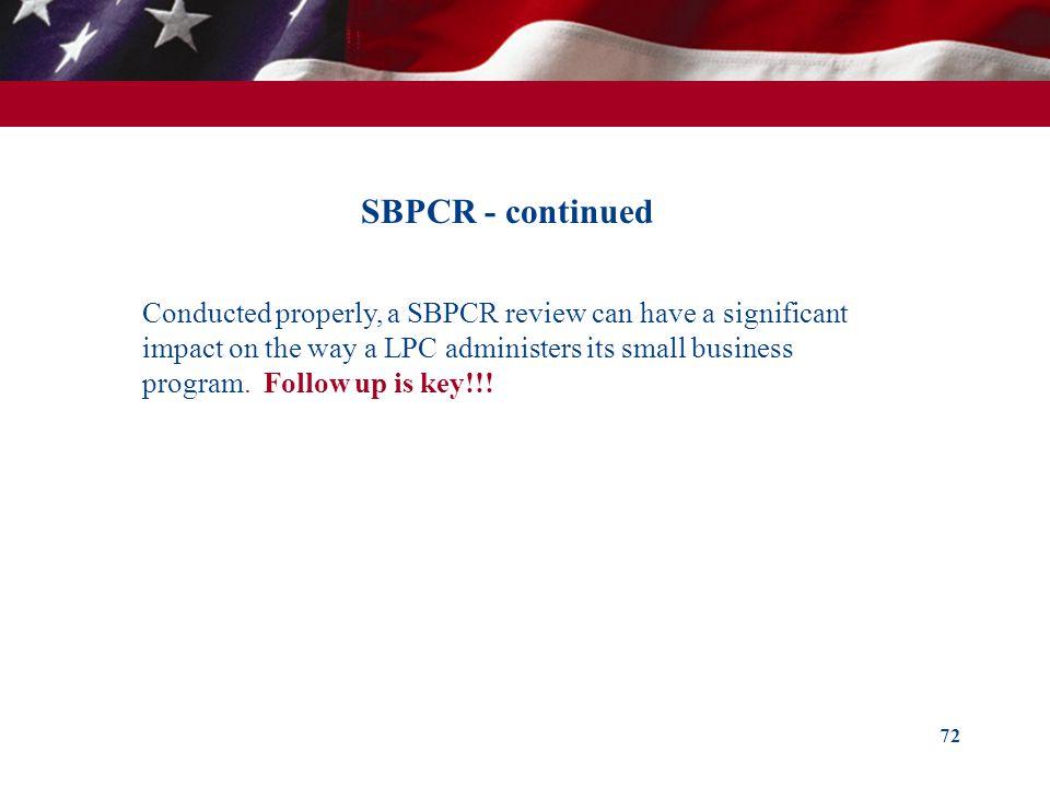 SBPCR - continued