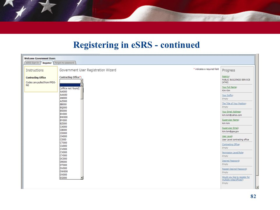 Registering in eSRS - continued