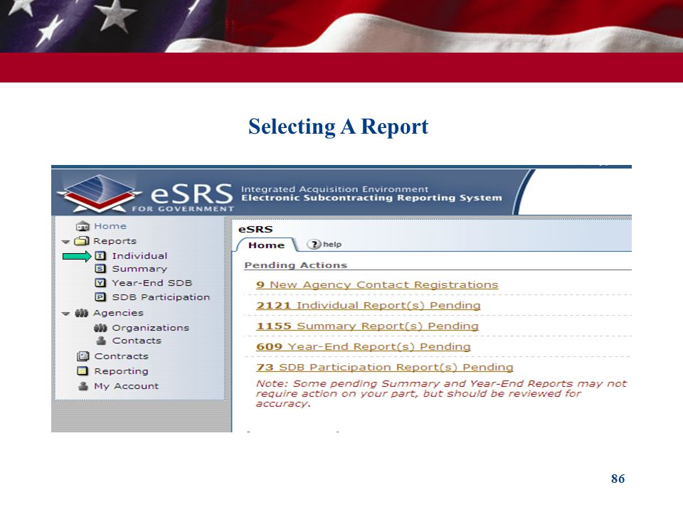 Selecting A Report