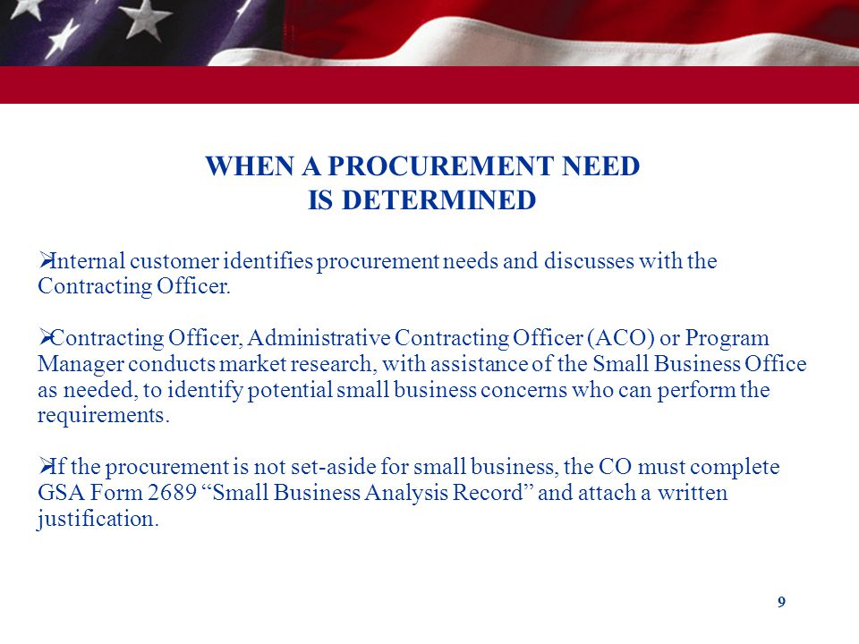 WHEN A PROCUREMENT NEED