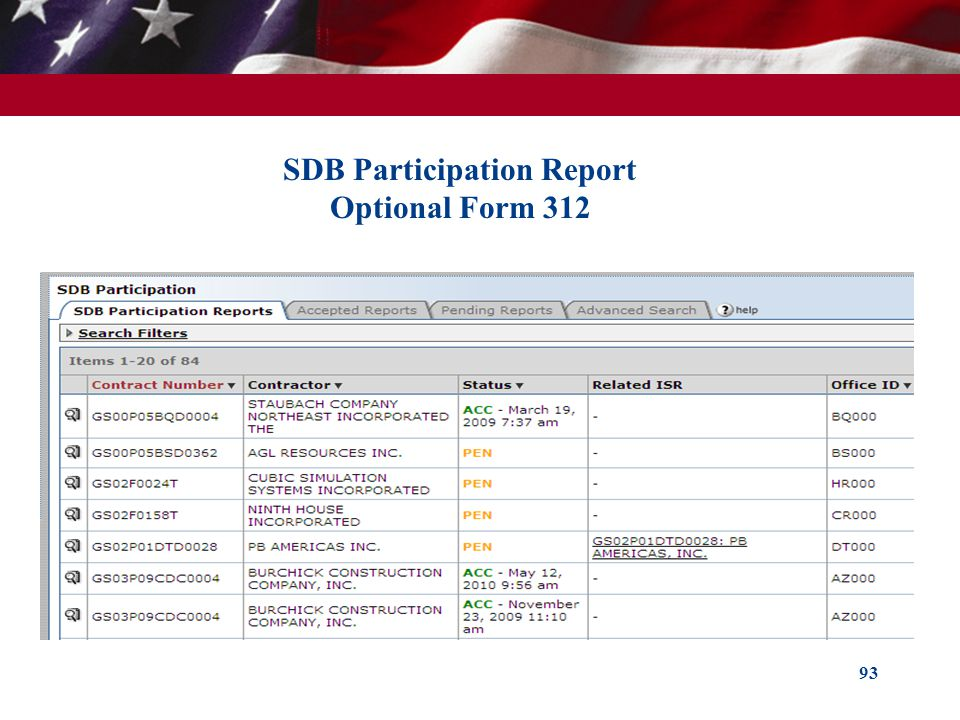 SDB Participation Report Optional Form 312