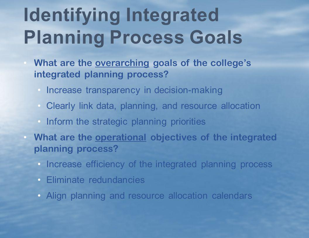 Identifying Integrated Planning Process Goals