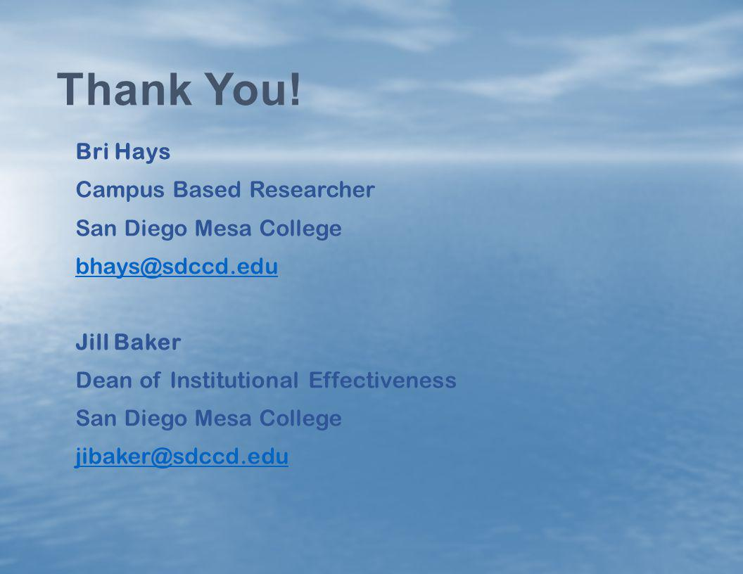 Thank You! Bri Hays Campus Based Researcher San Diego Mesa College