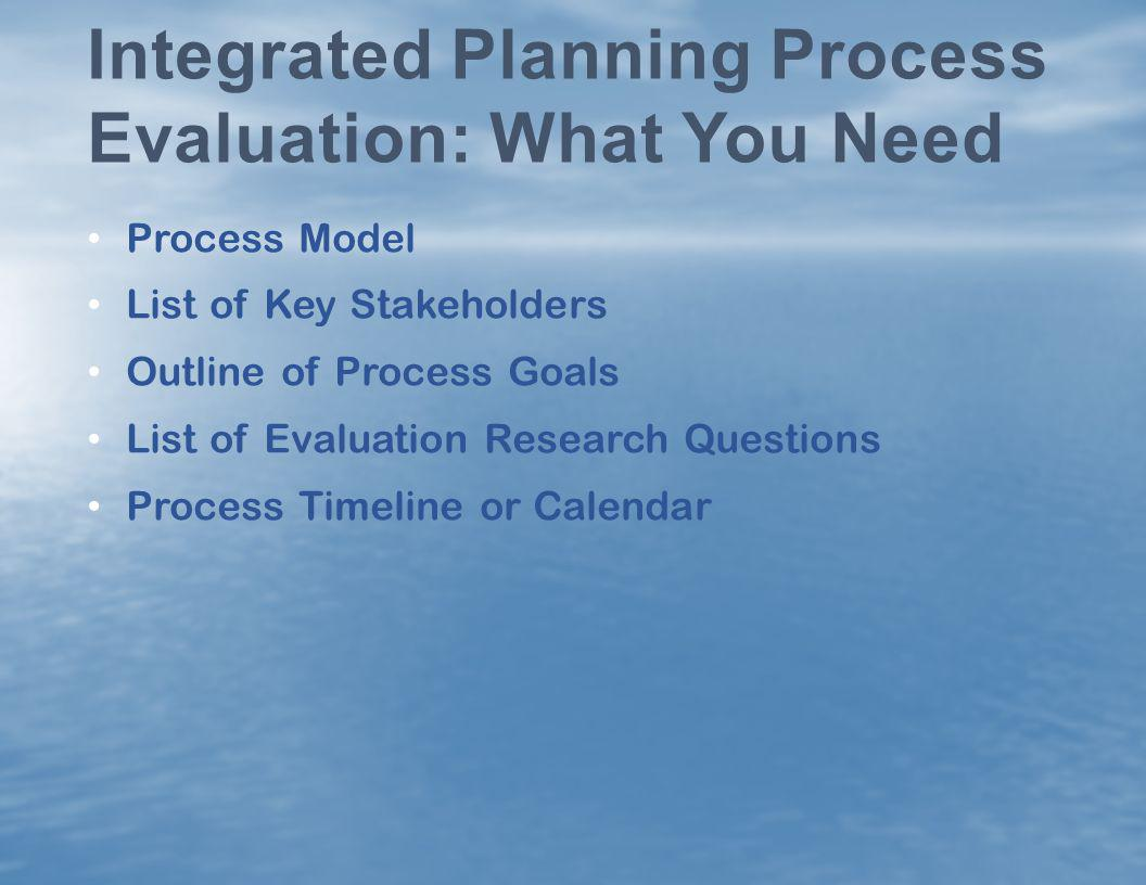 Integrated Planning Process Evaluation: What You Need
