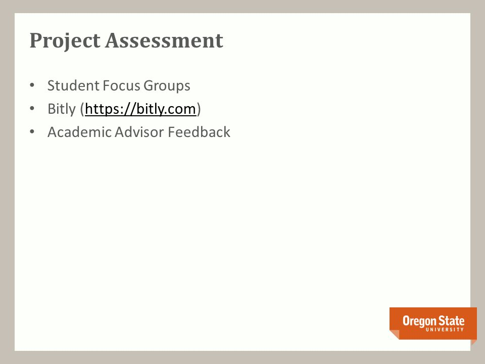 Project Assessment Student Focus Groups Bitly (https://bitly.com)