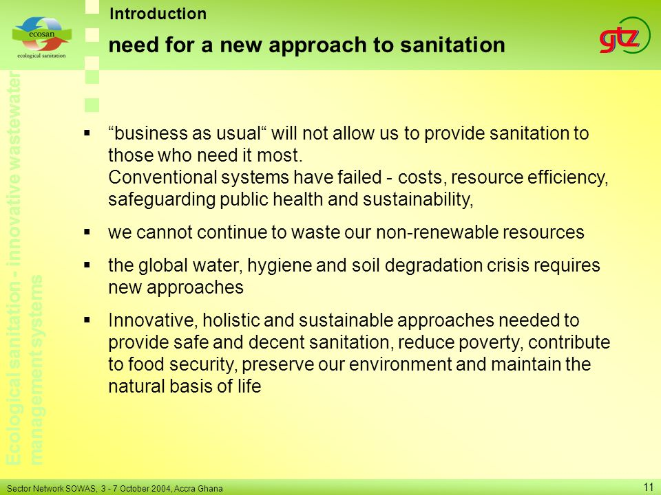 need for a new approach to sanitation