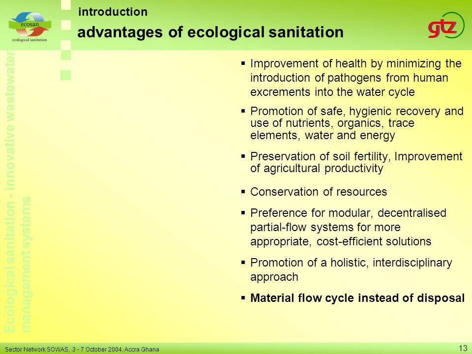 advantages of ecological sanitation