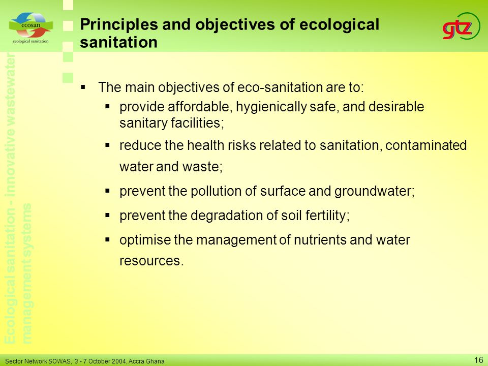 Principles and objectives of ecological sanitation