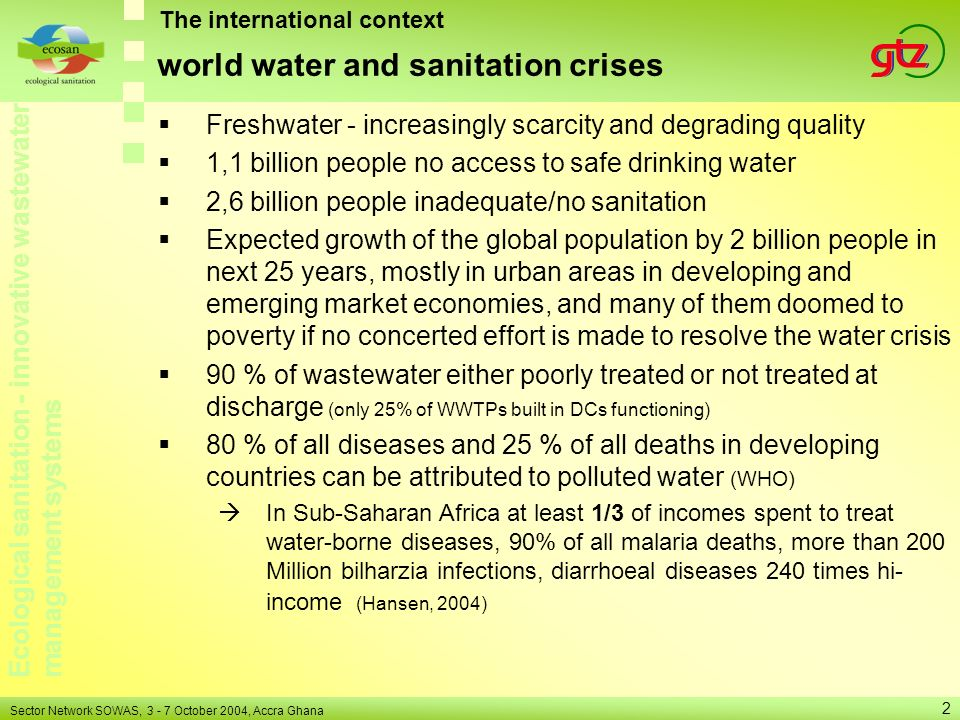 world water and sanitation crises